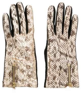 Diane von Furstenberg Leather Cashmere-Lined Gloves