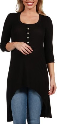 24/7 Comfort Apparel Laila Henley Style Maternity Tunic Top