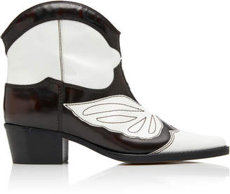 Ganni Low Texas Leather Ankle Boots