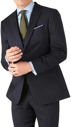 Charles Tyrwhitt Navy Stripe Slim Fit Twill Business Suit Wool Jacket Size 36