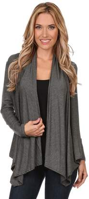 Private Label Women's Plus Solid Long Sleeve Draped Neck Open Front Cardigan. Made in USA