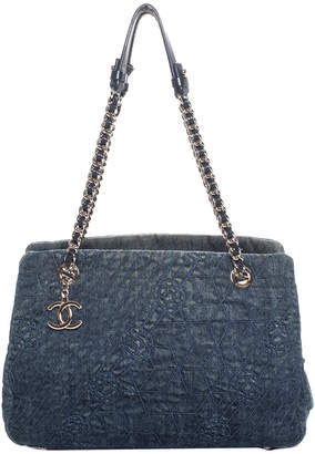Chanel Dark Blue Denim Mademoiselle Camellia Tote