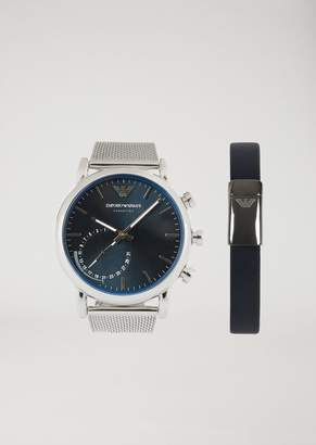 Emporio Armani Hybrid Smartwatch And Bracelet Gift Set 9003