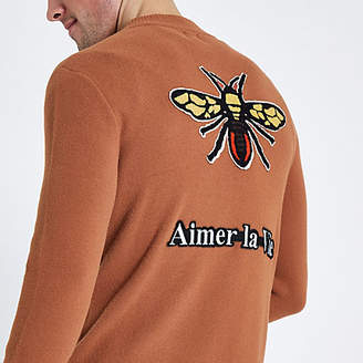 River Island Rust embroidered back bee bomber jacket