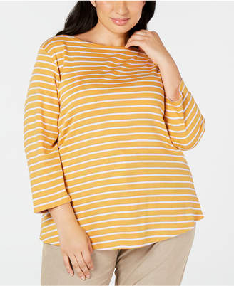 Charter Club Plus Size Striped Boat-Neck Top