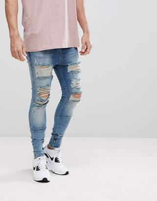 SikSilk Muscle Fit Drop Crotch Jeans With Distressing