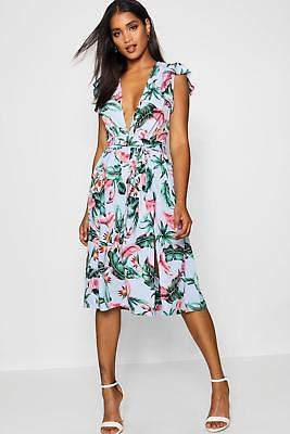 boohoo NEW Womens Plunge Front Tropical Print Midi Dress in