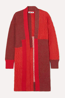 McQ Oversized Patchwork Knitted Cardigan - Red