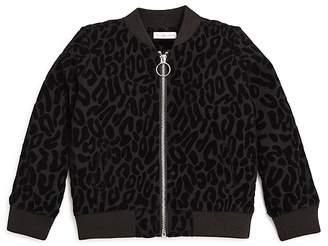Design History Girls' Leopard Burnout Bomber Jacket - Little Kid