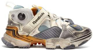 Vetements X Reebok Instapump Low Top Leather Trainers - Womens - Grey Multi