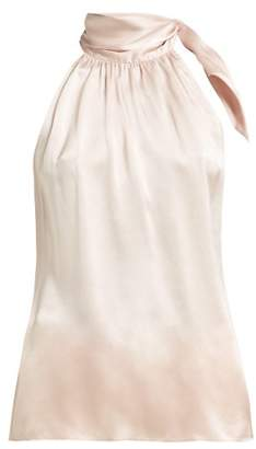 Zimmermann Tie Neck Silk Satin Blouse - Womens - Pink