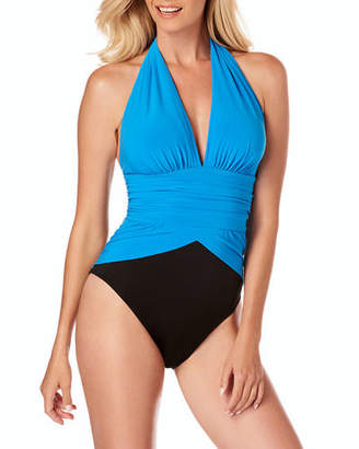 Magicsuit Jenn Ruched Colorblock Halter One-Piece Swimsuit