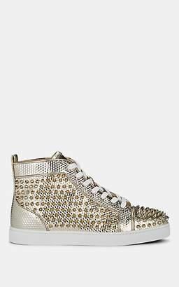 Christian Louboutin Men's Louis Flat Leather Sneakers - Silver