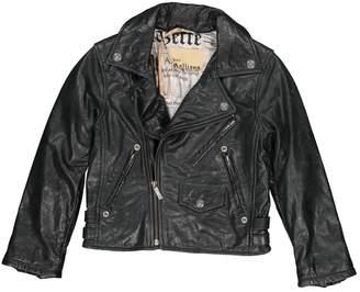 John Galliano Anthracite Leather Jacket & Coat