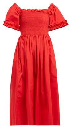 Molly Goddard Adelaide Shirred Cotton Midi Dress - Womens - Red