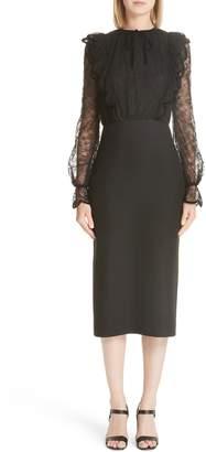 Valentino Lace Bodice Sheath Dress