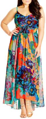 City Chic 'Hot Summer Days' Print High/Low Maxi Dress