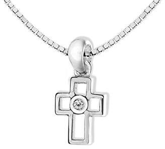Lily & Lotty for Girls Lily & Lotty Girl's Rhodium Plated 925 Sterling Silver Hand Set Diamond Anna Cross Necklace 36 cm with 4 cm Extender