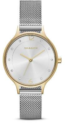 Skagen Two-Tone Anita Mesh Bracelet Watch, 30mm