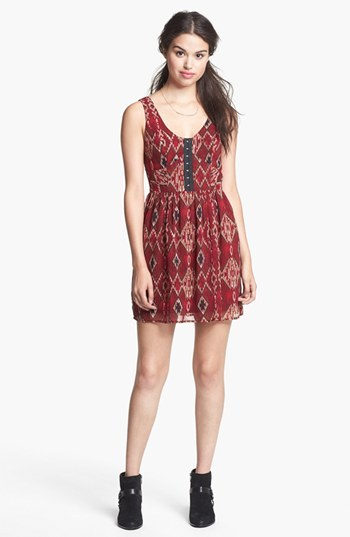Band of Gypsies Print Tank Skater Dress (Juniors)