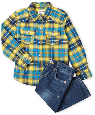 True Religion Infant Boys) Two-Piece Canary Flannel Tunic & Jeans Set