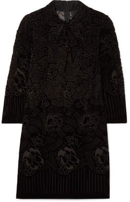 Anna Sui Rose Basket Devoré-velvet Mini Dress