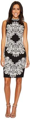Adrianna Papell Lace Printed Mock Neck Women's Dress
