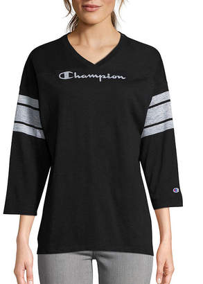 Champion Heritge Football Tee 3/4 Sleeve V Neck T-Shirt-Womens