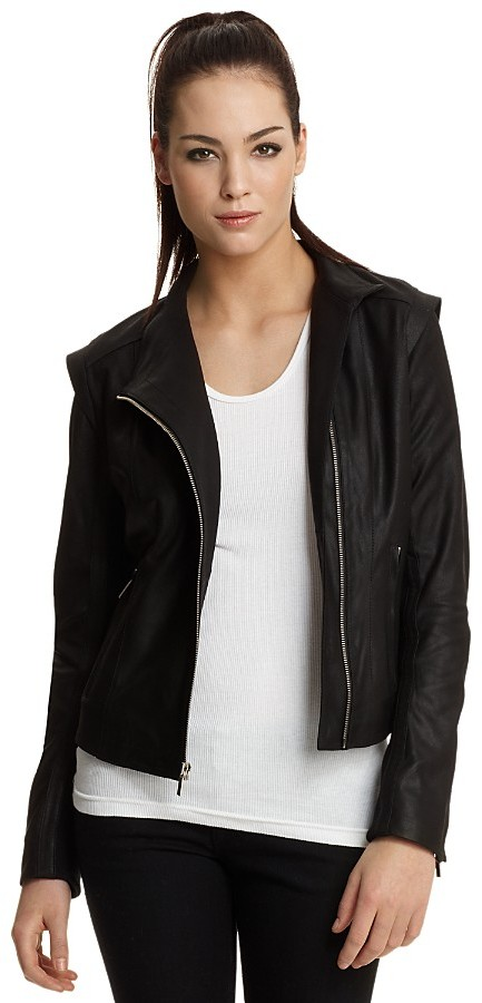 Aqua Leather Asymmetrical-Zip Jacket