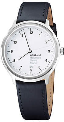 Mondaine MH1R2210LB Unisex Helvetica Leather Strap Watch, Black/White
