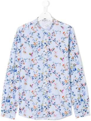 Dondup Kids gingham bird and floral print shirt