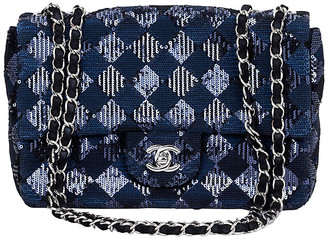 One Kings Lane Vintage Chanel Navy & Black Sequin Evening Bag - Vintage Lux