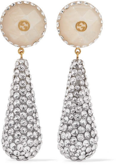 98e55a38e Gucci - Gold-plated, Resin And Crystal Earrings - one size