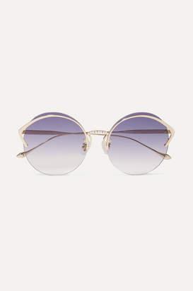 For Art's Sake - Margarita Round-frame Faux Pearl-embellished Gold-tone Sunglasses - Purple