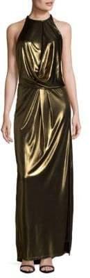 Halston Metallic Halter Gown