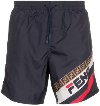 Fendi fila logo swim shorts