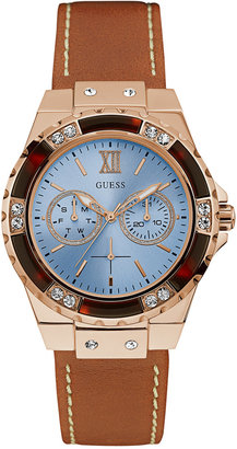 GUESS Women's Limelight Brown Leather Strap Watch 39mm U0775L7 $135 thestylecure.com