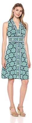 London Times Women's Border Print Matte Jersey Fit and Flare Dress