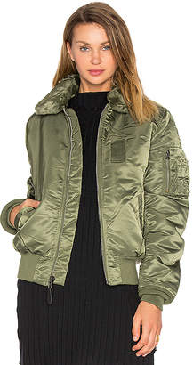 ALPHA INDUSTRIES B-15 Slim Fit Bomber with Faux Fur Collar in Green $150 thestylecure.com