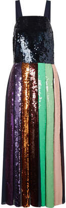 Tibi Sequined Silk-chiffon Midi Dress - Metallic