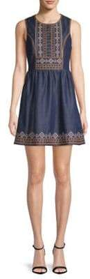 Moon River Embroidered Fit-and-Flare Dress