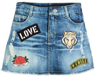 Flowers by Zoe Raw-Hem Distressed Skirt w/ Patches, Size S-XL