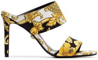 Versace black white and gold 95 Baroque tribute mules