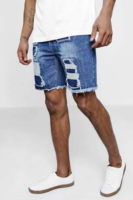 boohoo Slim Fit Distressed Denim Shorts