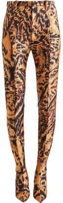 Balenciaga Pantashoe Leopard-print Spandex Skinny Pants - Brown