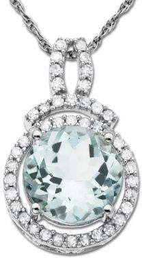 Lord & Taylor 14 Kt. White Gold Aqua & Diamond Necklace, .19ct. t.w.