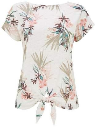 Wallis Petite Cream Palm Print Top
