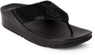 FitFlop Black Crystall Embellished Thong Sandals