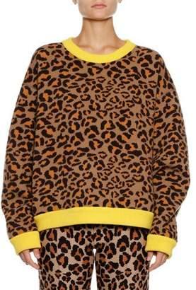 Alanui Leopard-Intarsia Crewneck Pullover Sweater w/ Leather Fringe