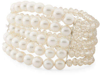 5 Row Pearl And Champagne Crystal Bracelet